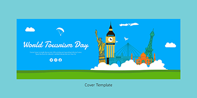 World tourism day flat coverpage template