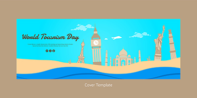 World tourism day flat facebook cover template