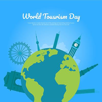 World tourism day flat template