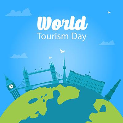 World tourism day flat template design
