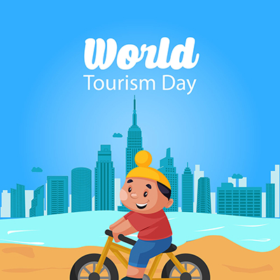 World tourism day on a flat banner template