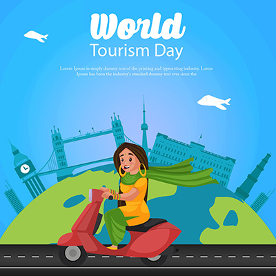 World tourism day on a flat template banner