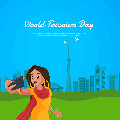 World tourism day on a flat template design