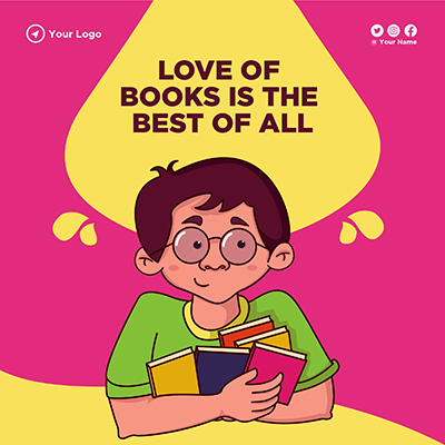 Banner design for love of books is the best