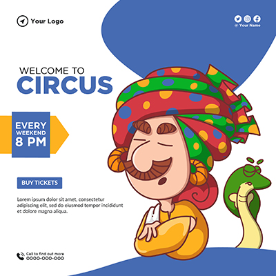Banner design for welcome to circus