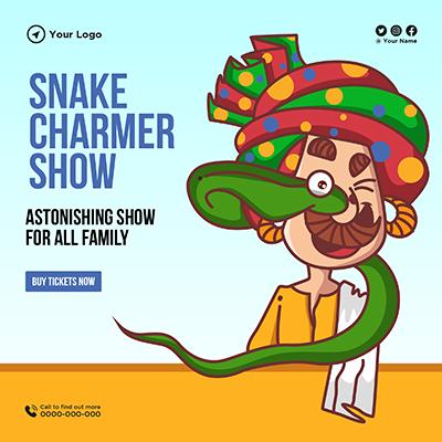 Banner design of snake charmer show