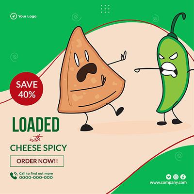 Banner design with loaded with cheese spicy
