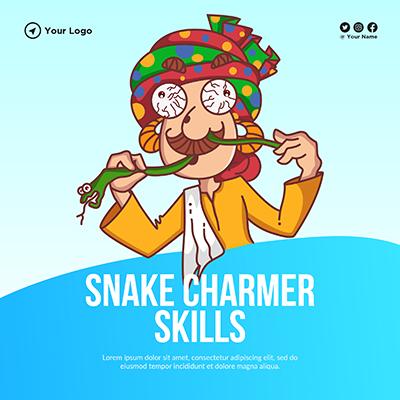 Banner design with snake charmer skills