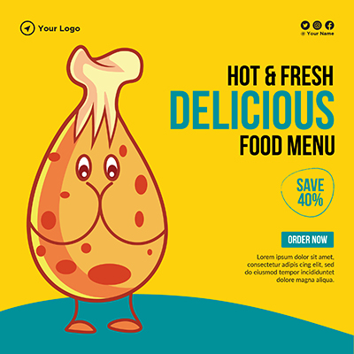 Banner for hot and fresh delicious food menu