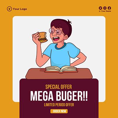 Banner for special offer mega burger