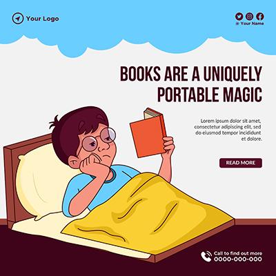 Banner of books are a uniquely portable magic