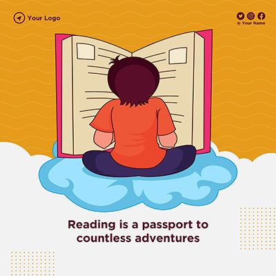 Banner of reading is a passport to countless adventures