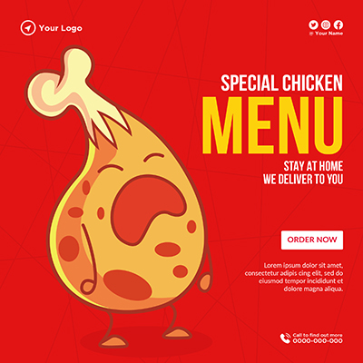 Banner template for special chicken menu