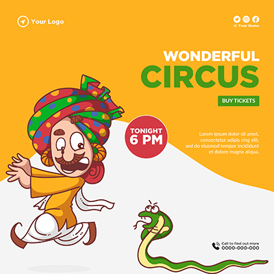 Banner template for wonderful circus