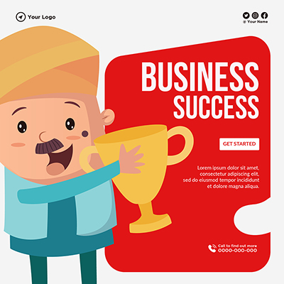 Banner template of business success