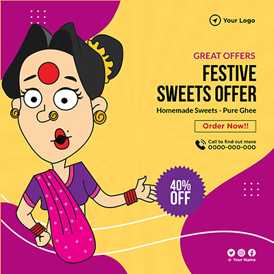 Banner template of festive sweets offer