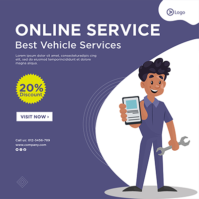 Banner template of online service of vehicle services