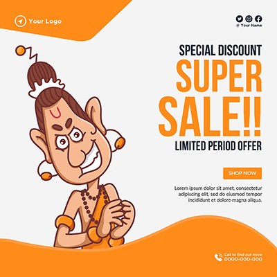 Banner template of special discount super sale
