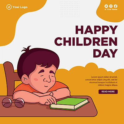Banner template with happy children day