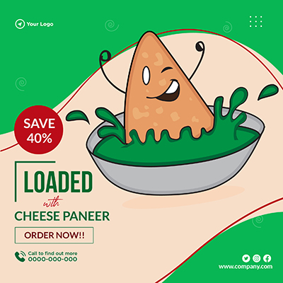 Loaded with cheese paneer banner design