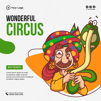 Banner template with wonderful circus