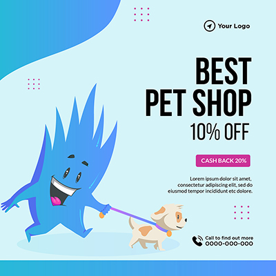 Best pet shop with off banner template