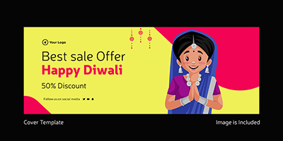 Best sale offer on happy Diwali cover template