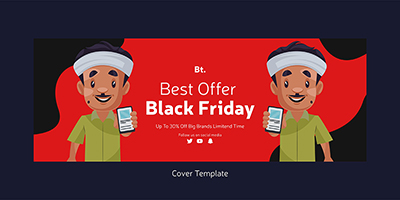 Black friday sale discount facebook cover page design