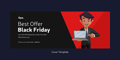 Black friday sale on flat design with cover page template