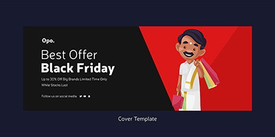 Black friday sale with the big brands cover page template