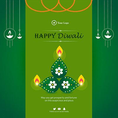 Celebration of happy diwali banner template