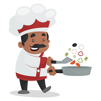 Chef is cooking food in a fry pan
