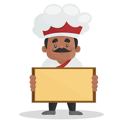 Chef is holding a board in his hands