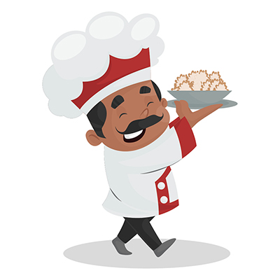 Chef is holding a food plate in hands