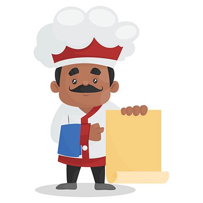 Chef is holding a menu card in hand