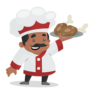 Chef is holding chicken leg pieces plate in hand