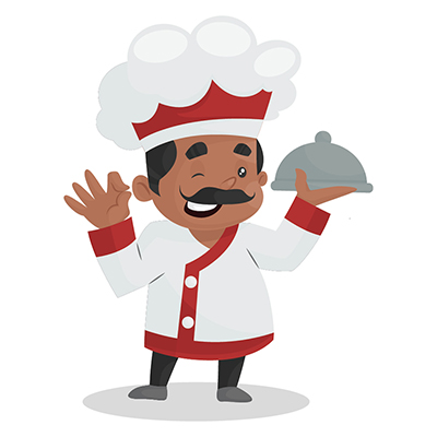 Chef is holding cloche plate in hand and winking an eye