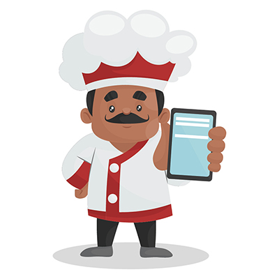 Chef is showing a mobile phone