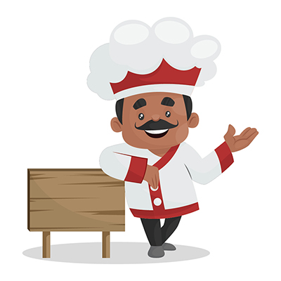 Chef is standing with a wooden signboard