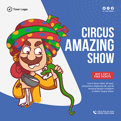 Circus amazing show with banner design