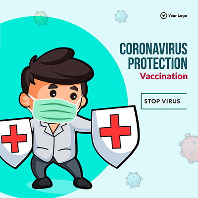 Coronavirus protection with vaccination banner template
