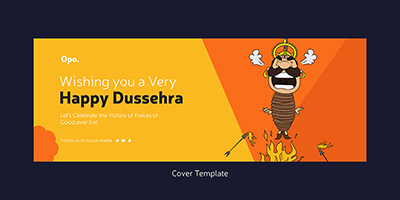 Cover design template of a happy dussehra