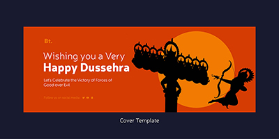 Cover page template for happy dussehra