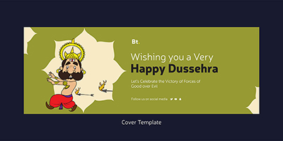 Cover template design of a happy dussehra