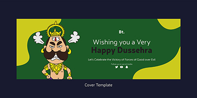 Cover template design of happy dussehra festival
