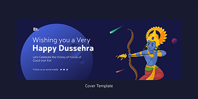 Cover template design of happy dussehra wishes