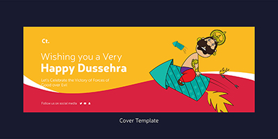 Cover template of happy dussehra festival