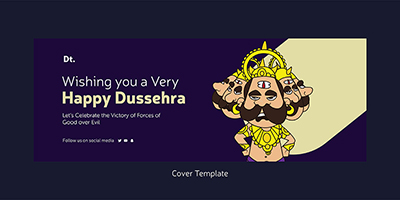 Coverpage template of a happy dussehra