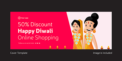 Discount on happy Diwali online shopping cover template