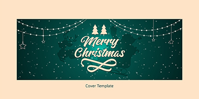 Facebook cover template of merry christmas